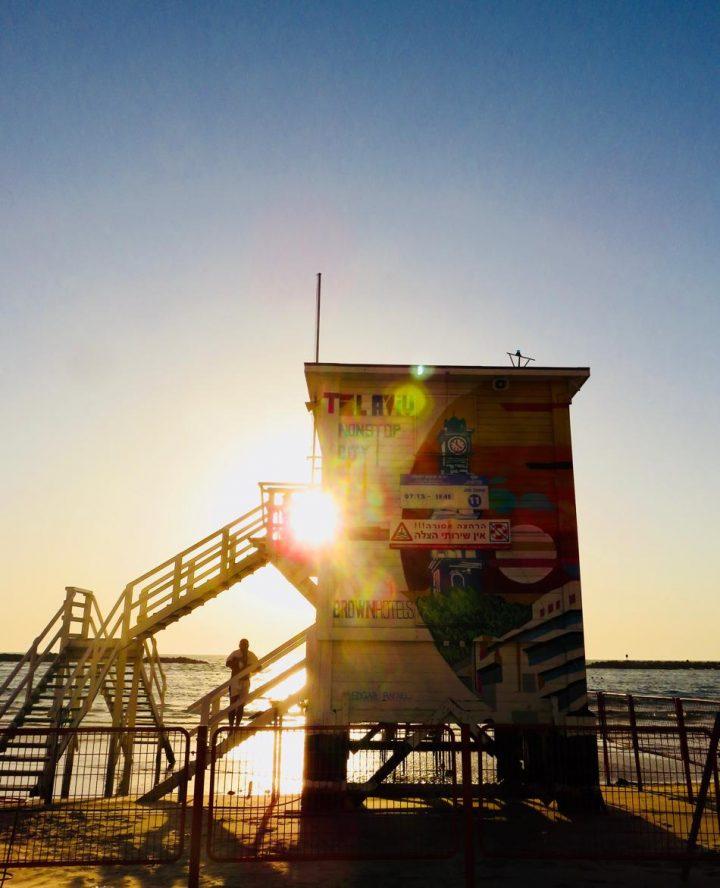Life Guard house for beach life blog in Tel Aviv Israel; Tel Aviv City Trip Travel Blog Inspirations