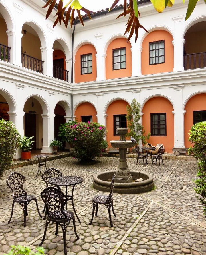 Plaza at Hotel la Plazuela in Colonial Poyayán Colombia; Colombia Travel Blog Inspirations
