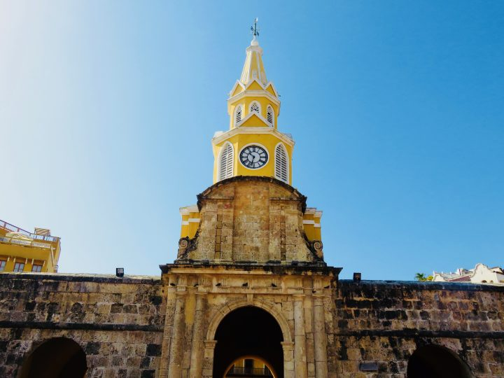 Famous Reloj in city of Cartagena Colombia; Colombia Travel Blog Inspirations
