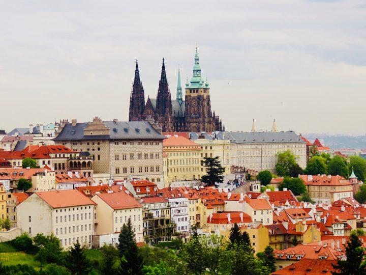 View from Petřin Hill over Prague; Prague City Trip Travel Blog Inspirations