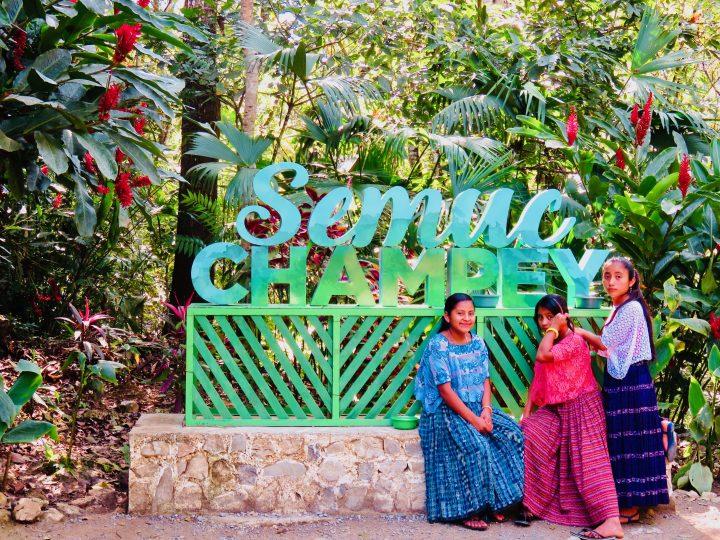 Girls at sign Semuc Champey Guatemala, Guatemala Travel Blog
