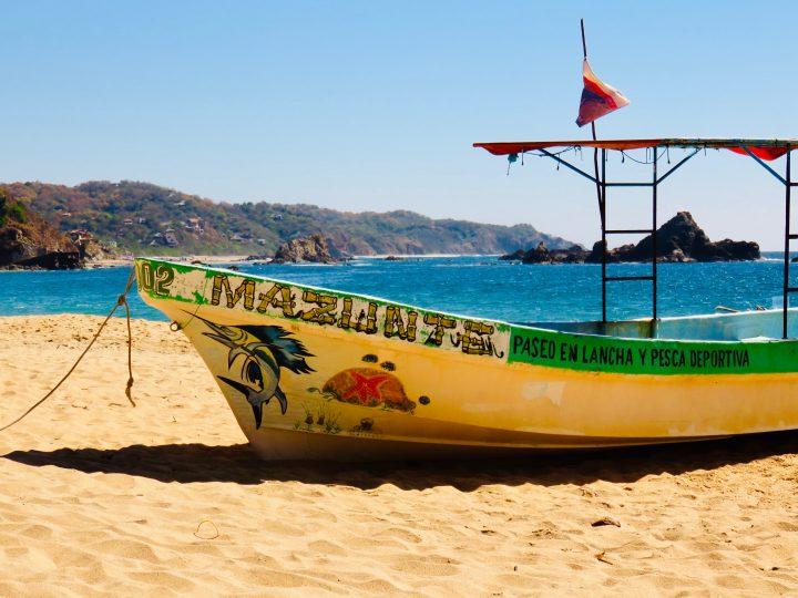 Boat on Mazunte Beach near Puerto Escondido Mexico, Mexico Travel Blog Inspirations