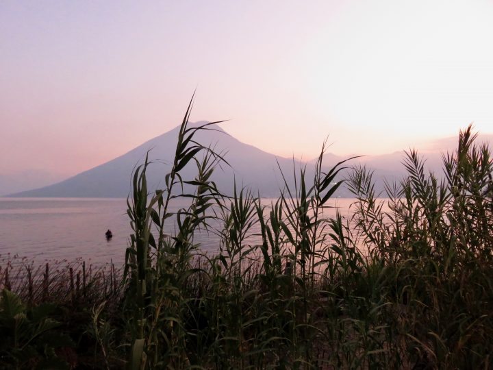 Sunset over Volcano in lake Atitlán Guatemala, Guatemala Travel Blog