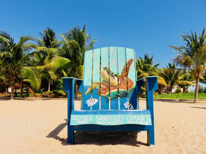Painted Chair at beach in Placencia Belize, Belize Travel Blog