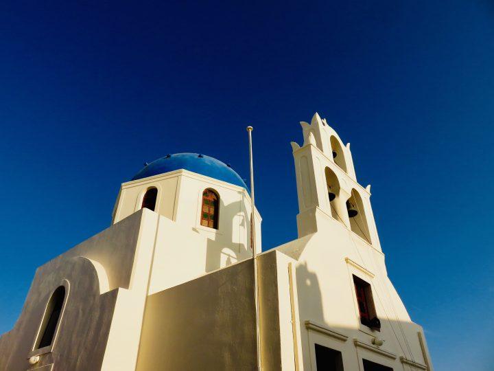 Church with blue roof Santorini Greece, Greek Cyclades Travel Blog