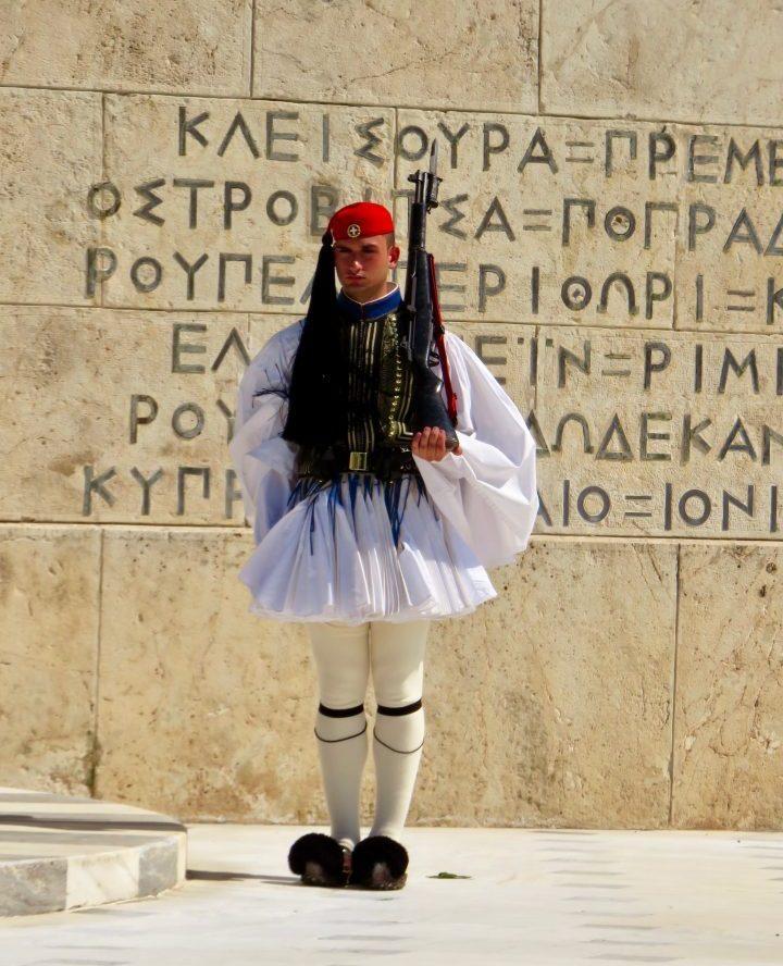 Evzones guard at Athens Greece, Greek Cyclades Travel Blog