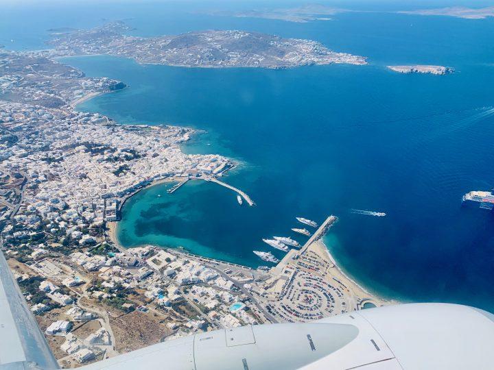 Mykonos town from thy plane for blog Mykonos Greece, Greek Cyclades Travel Blog