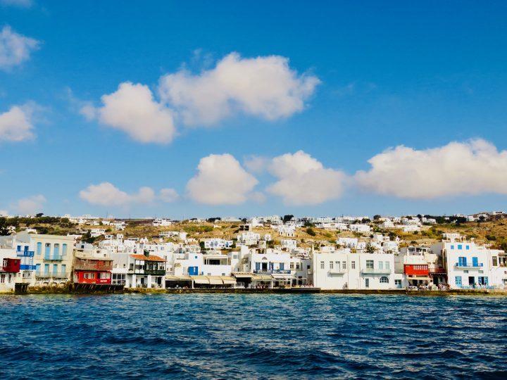 Little Venice from the water Mykonos Greece, Greek Cyclades Travel blog