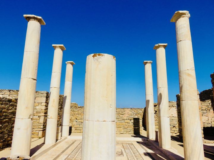 Pillars old town of Delos Greece, Greek Cyclades Travel Blog