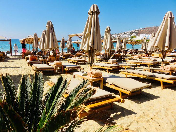 Sun beds Branco beach club Mykonos Greece, Greek Cyclades Travel Blog