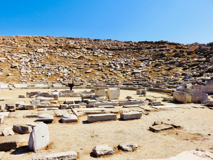 Theater in old town of Delos Greece, Greek Cyclades Travel Blog
