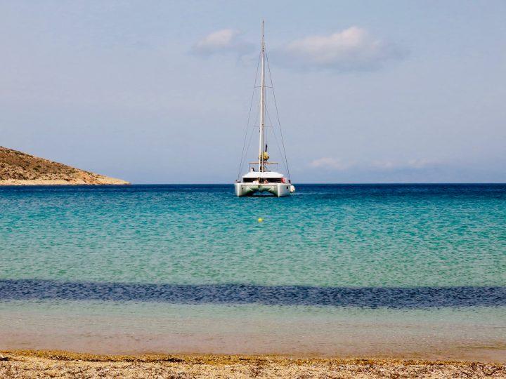 Theodoti Beach Sail boat on Ios Greece, Greek Cyclades Travel Blog