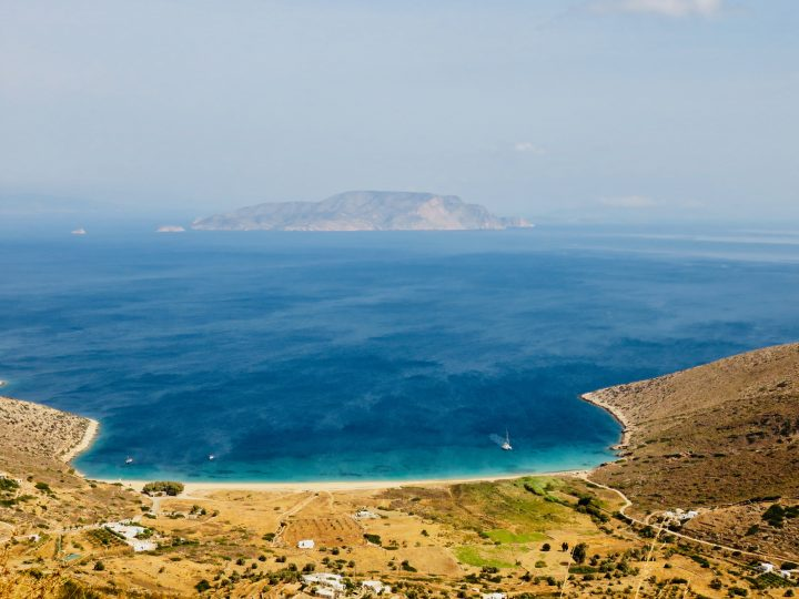 Theodoti beach from above on Ios Greece, Greek Cyclades Travel Blog