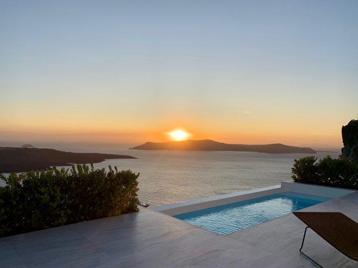 Accomodation White Ark Pool site during Sunset Santorini Greece, Greek Cyclades Travel Blog