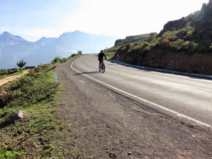 Biking downhill at Colca tour Arequipa Peru, Travel Blog Peru