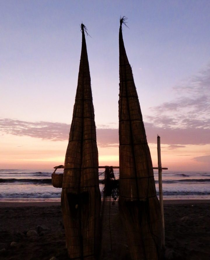 Traditional Caballitos Sunset Huanchaco Peru, travel blog Peru