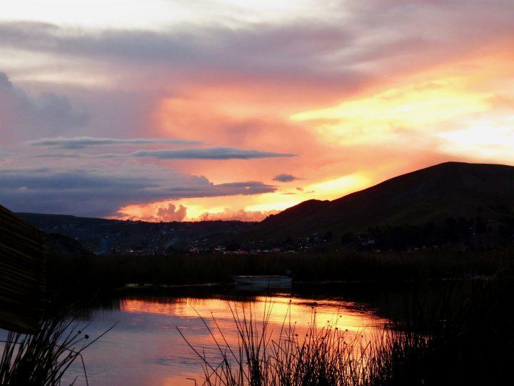 Islas Uros at Sunset in Puno Peru, Travel blog Peru