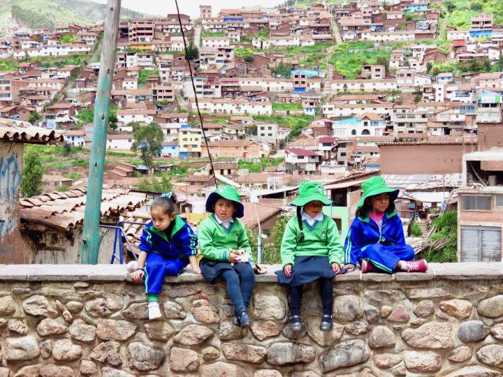 Kids in uniforms at School Cusco Peru, Travel Blog Peru