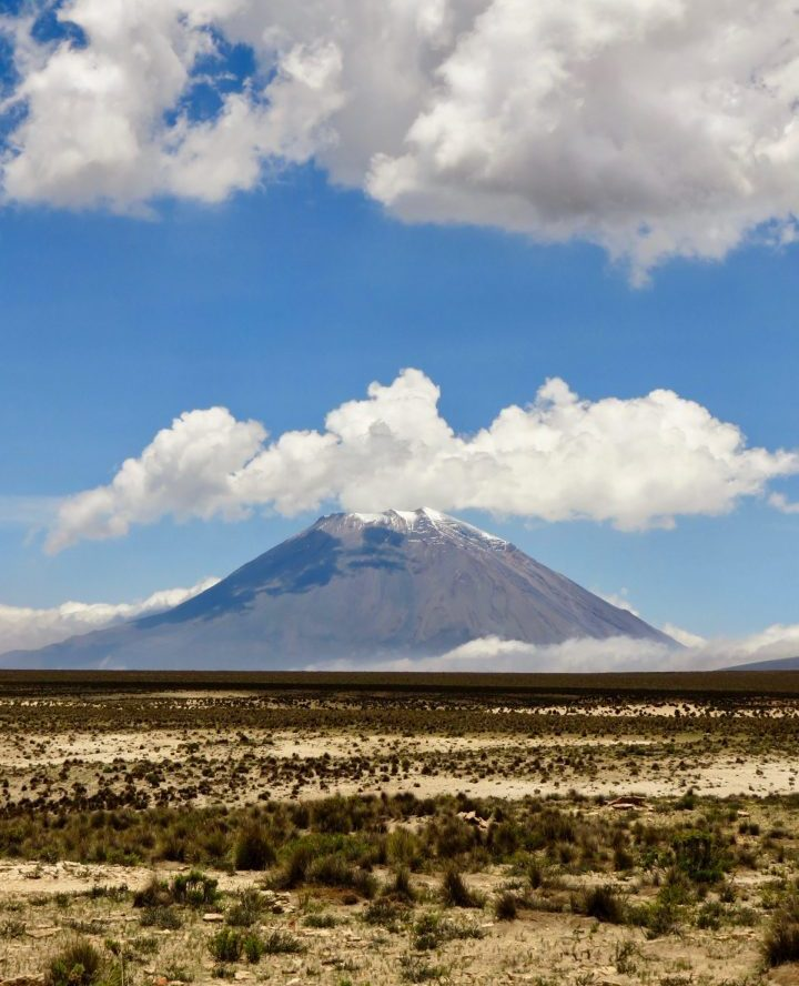 Volcano Misti in the clouds Arequipa Peru, Travel blog Peru