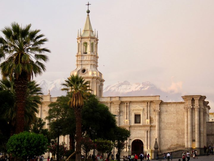 Plaza de Armas with church and volcanoes in Arequipa Peru, Travel Blog Peru
