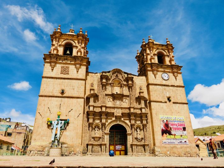Puno square with Church Peru, Travel Blog Peru