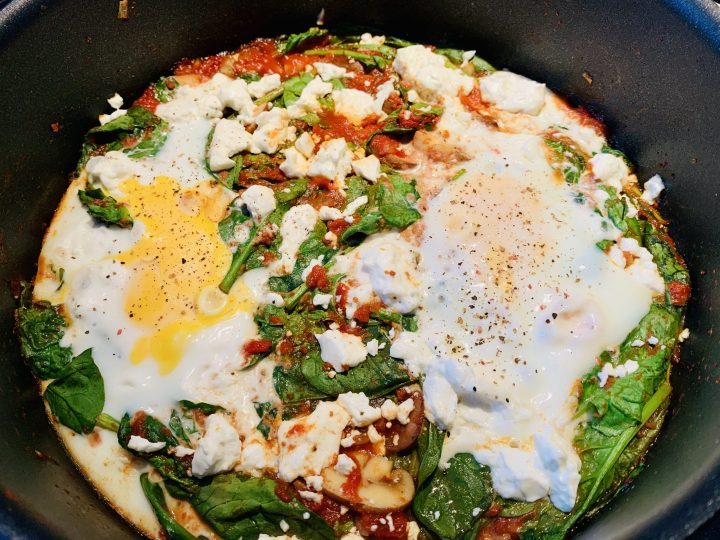 Shakshuka with Spinach and Feta Cheese Dinner Food