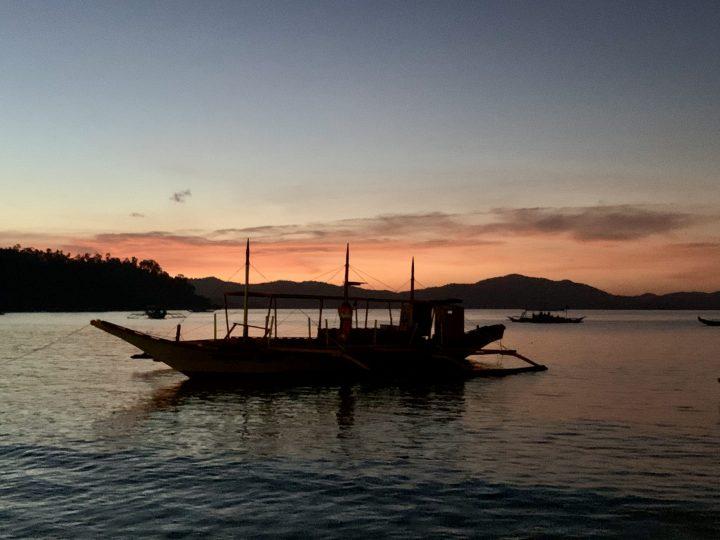 Sunset Boat Port Barton Palawan Philippines Travel Blog
