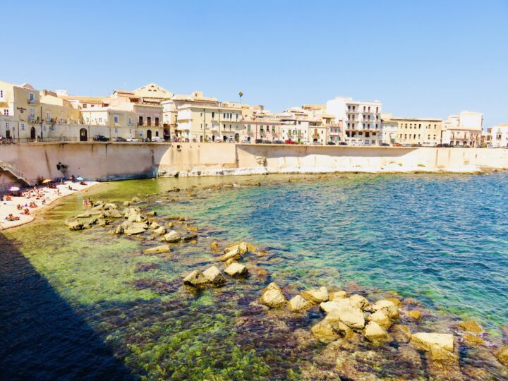 Seaside beach Aretusa Syracuse Ortygia Southeast Sicily Italy Travel Blog