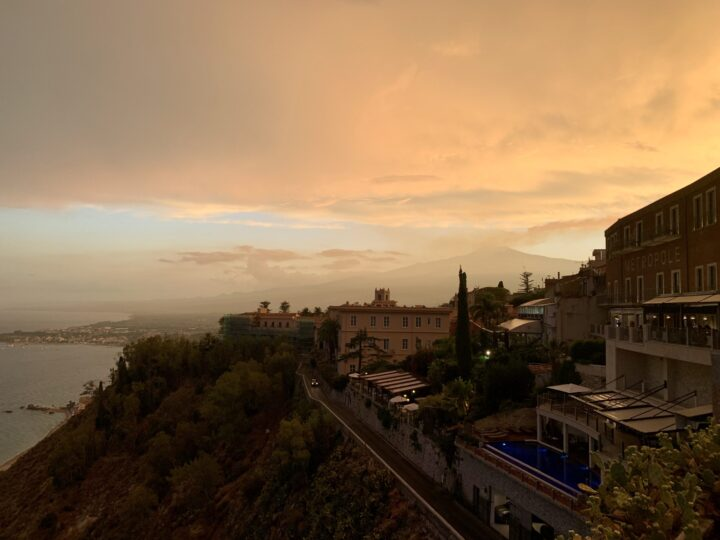 Sunset Taormina East Sicily Italy Travel Blog Inspirations