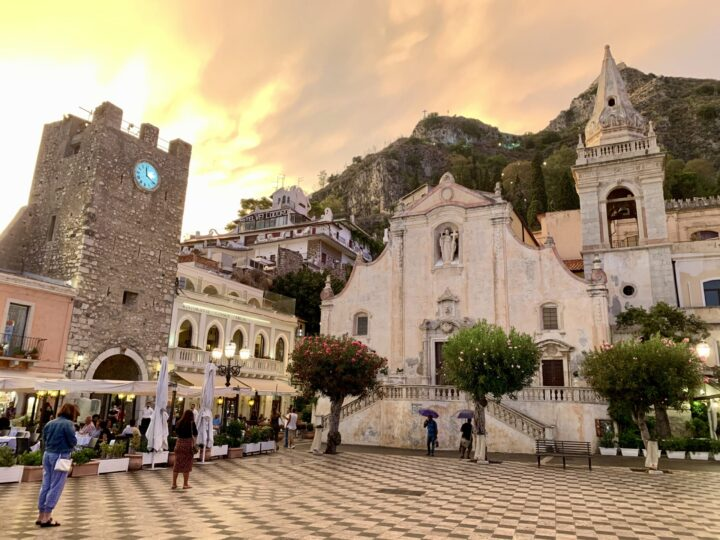 Sunset square Taormina East Sicily Italy Travel Blog Inspirations