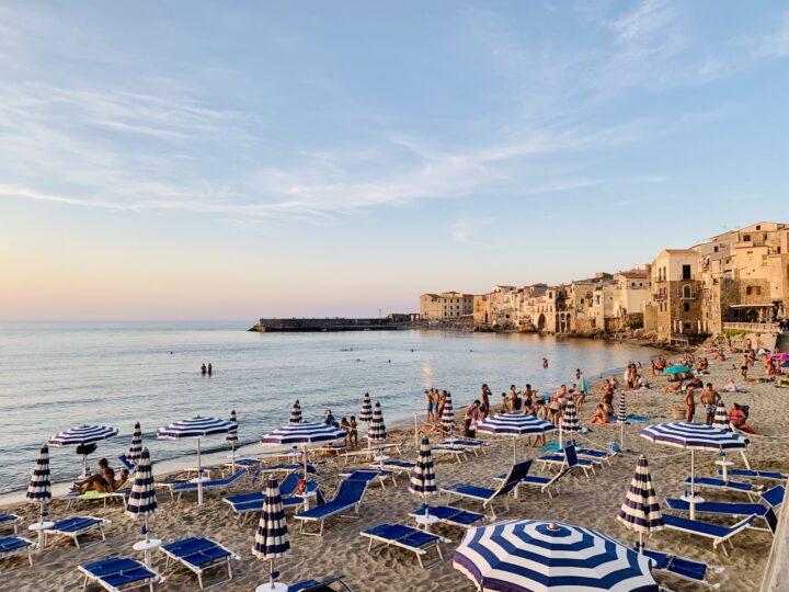 Beach Cefalú Sunset North Sicily Italy Travel Blog